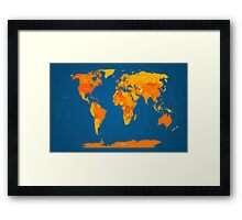 World Map in Orange and Blue Framed Print