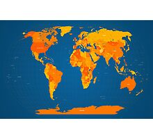 World Map in Orange and Blue Photographic Print