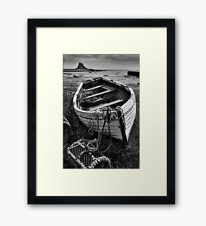 Old boat and lobster pots - Lindisfarne Framed Print