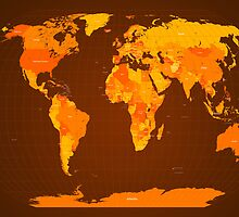 World Map Autumn Colours by Michael Tompsett