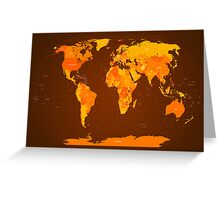 World Map Autumn Colours Greeting Card