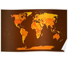 World Map Autumn Colours Poster