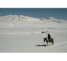 Rider on snow covered mountain plain, Tien-Shan, Kyrgyzstan Photographic Print