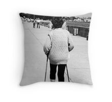 Spry old lady - Gdynia boulevard Throw Pillow