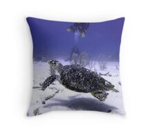 Divers Watching Hawksbill Turtle Throw Pillow