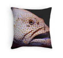 Coral Grouper Being Cleaned Throw Pillow