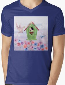 Building Their Nest cute birdies nature painterly art Mens V-Neck T-Shirt
