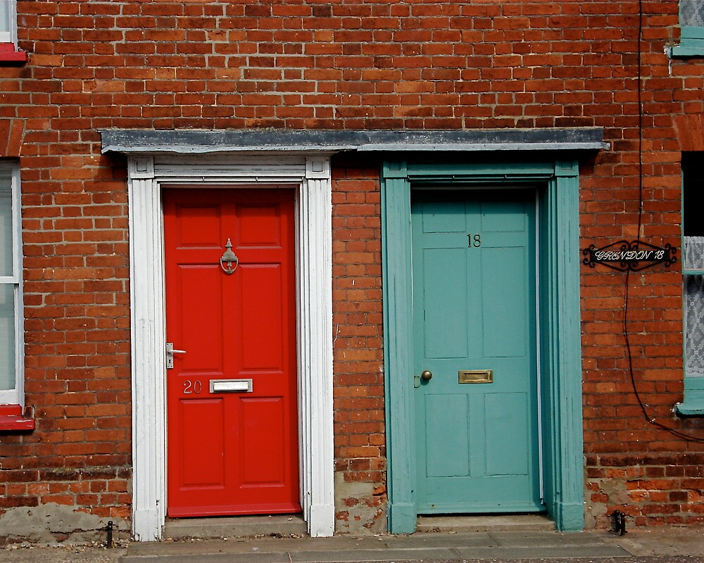 Red and green doors  by richard  webb