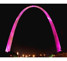 St Louis Arch, Pink for breast cancer awareness! Photographic Print