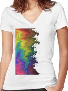 Rainbow Colours Women's Fitted V-Neck T-Shirt