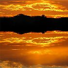 Molten Glow of Nightfall ... at Fake Lake by Jean Gregory  Evans