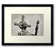 Statue of St Cuthbert - Lindisfarne Priory Framed Print