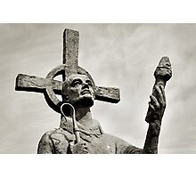 Statue of St Cuthbert - Lindisfarne Priory Photographic Print
