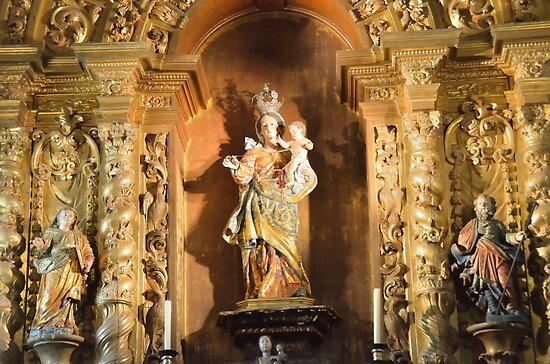 detail from altar in Cathedral at Obidos, Portugal by Steve