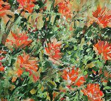 a sall garden of peach flowers by arturoarboledar