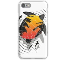Red sun floating turtle  iPhone Case/Skin