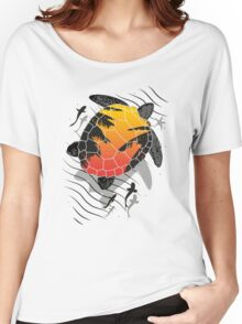 Red sun floating turtle  Women's Relaxed Fit T-Shirt