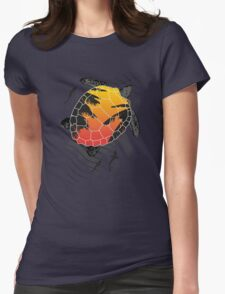 Red sun floating turtle  Womens Fitted T-Shirt