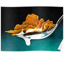 Cereal and Milk in Spoon Poster