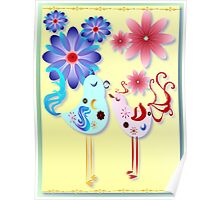 Two Spring Birds Of Happiness Poster