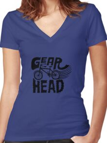 Gearhead -  black   Women's Fitted V-Neck T-Shirt