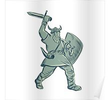 Viking Warrior Striking Sword Etching Poster