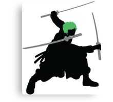 Zoro with Swords Silhouette (Green Hair Pirate) Canvas Print