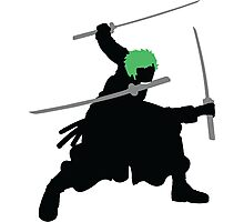 Zoro with Swords Silhouette (Green Hair Pirate) Photographic Print