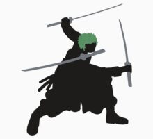 Zoro with Swords Silhouette (Green Hair Pirate) by tshirtdesign