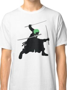 Zoro with Swords Silhouette (Green Hair Pirate) Classic T-Shirt