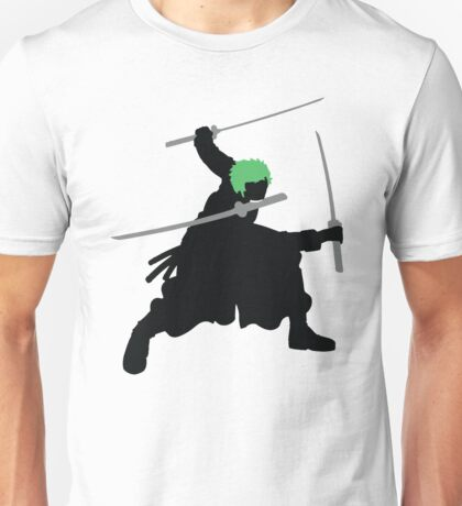 Zoro with Swords Silhouette (Green Hair Pirate) Unisex T-Shirt