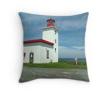 Caribou Island Lighthouse Throw Pillow