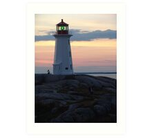 Lighthouse and Afterglow Art Print