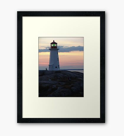 Lighthouse and Afterglow Framed Print
