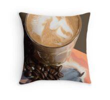 Latte Art- Horse Throw Pillow
