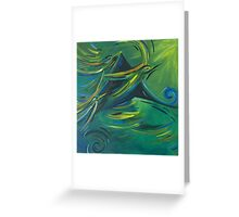 Flight of the green birds Greeting Card
