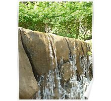 water flowing over falls surrounded by gigantic trees Poster