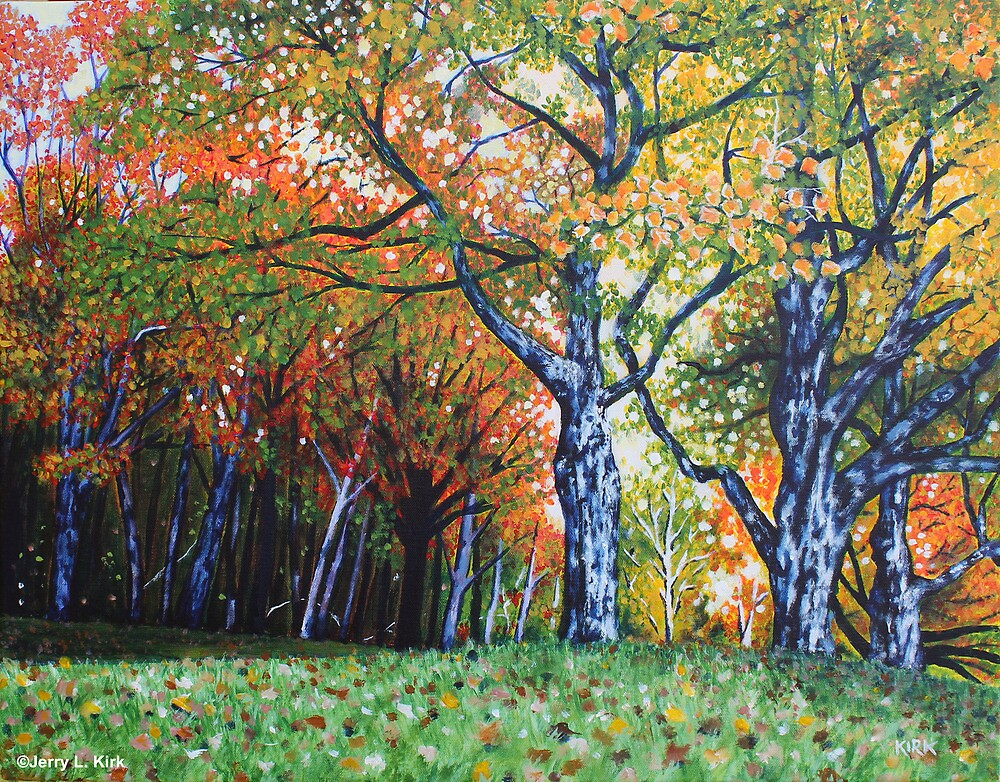'Autumn Trees Along Bass Lake'  by Jerry Kirk