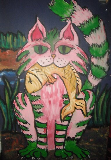 Cat with Fish by Wendy Crouch