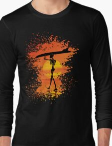 Skeleton with surfboard Long Sleeve T-Shirt