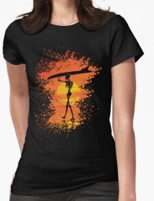 Skeleton with surfboard Womens Fitted T-Shirt