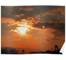 Verrazano Sunset Moon Poster
