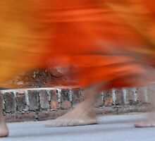 Bare-footed Monks in Laos by Thomas Heinrich