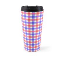 Red white and blue check Travel Mug