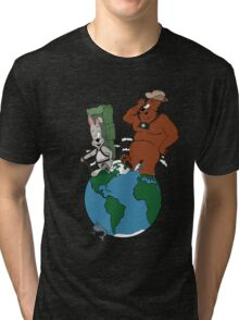 Bear and Rabbit go globetrotting Tri-blend T-Shirt
