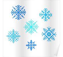 Snowflakes - pixel art Poster