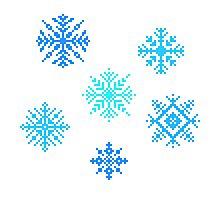 Snowflakes - pixel art Photographic Print