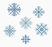 Snowflakes - pixel art Kids Tee