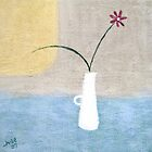 White Jug and Red Flower by Jude Allman
