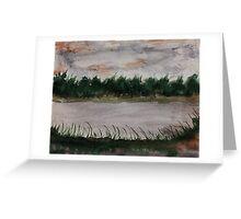 Walking around the Lake.  watercolor Greeting Card